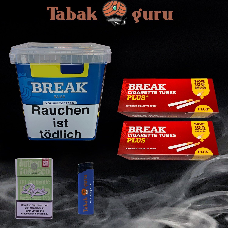 Break Blue / Blau Volumentabak Giga Box 240 g + 400 Break Plus Hülsen + Zubehör