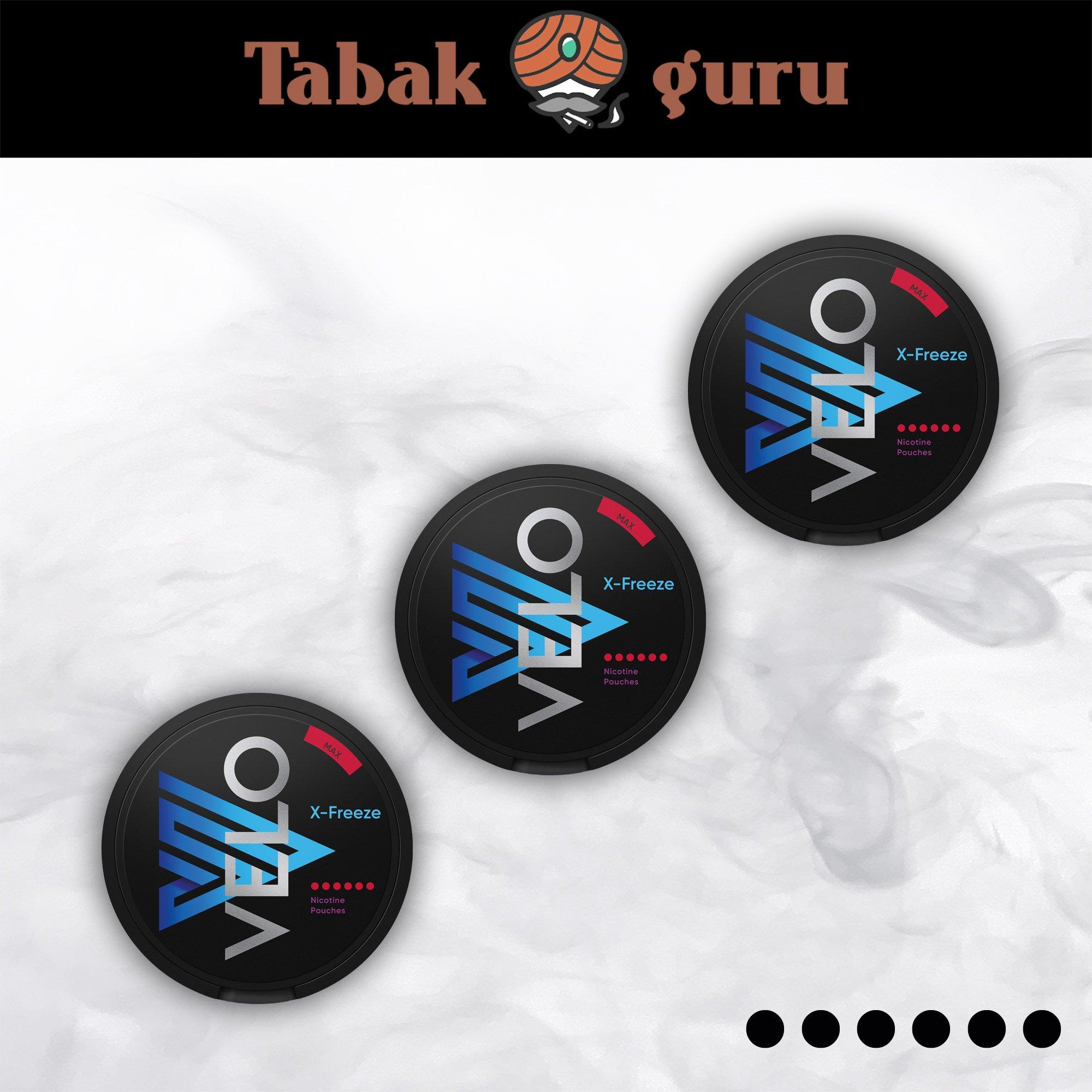 3 x VELO X-Freeze Max maximal stark Kautabak Intensität 6