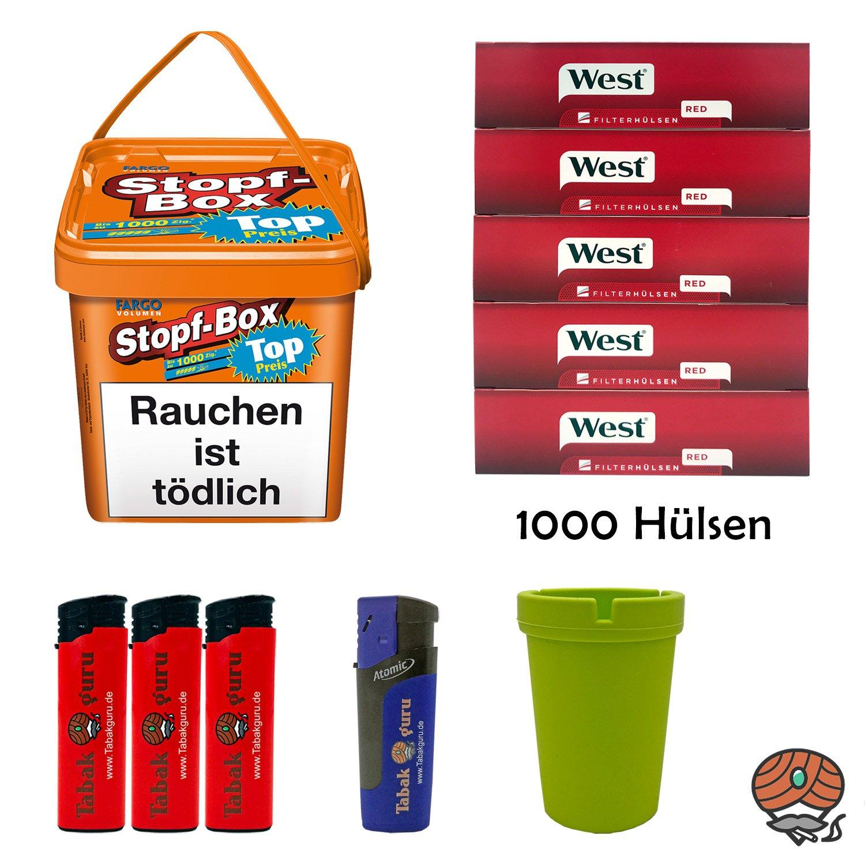 Fargo Stopf-Box 480 g Volumentabak + 1.000 West Hülsen + Aschenbecher