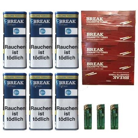 6x Break Blue/Blau XXL Volumentabak 120g, Hülsen, 3 Feuerzeuge