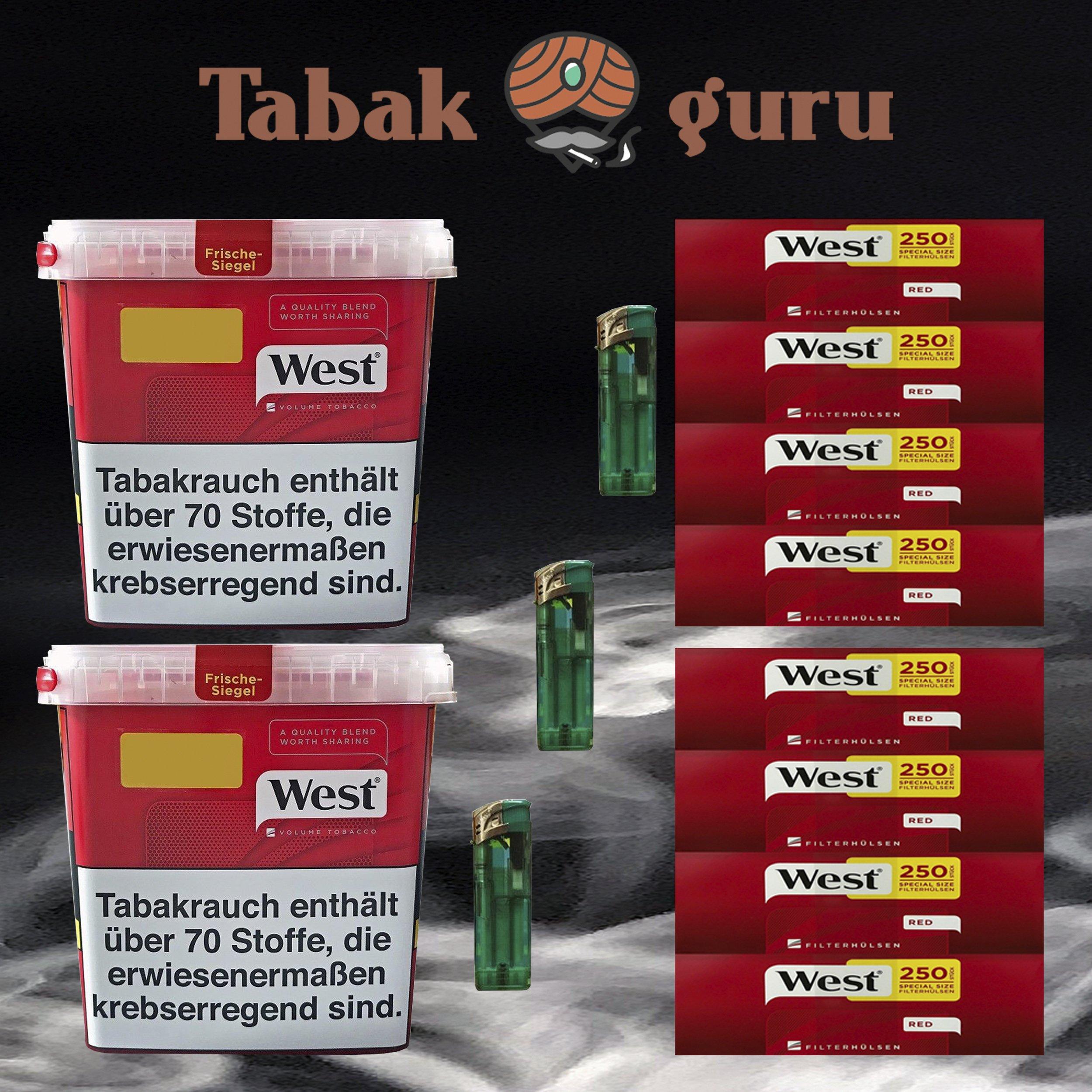 2x West Tabak / Volumentabak Mega Box 280 g, 2000 West Extra Hülsen, Feuerzeuge