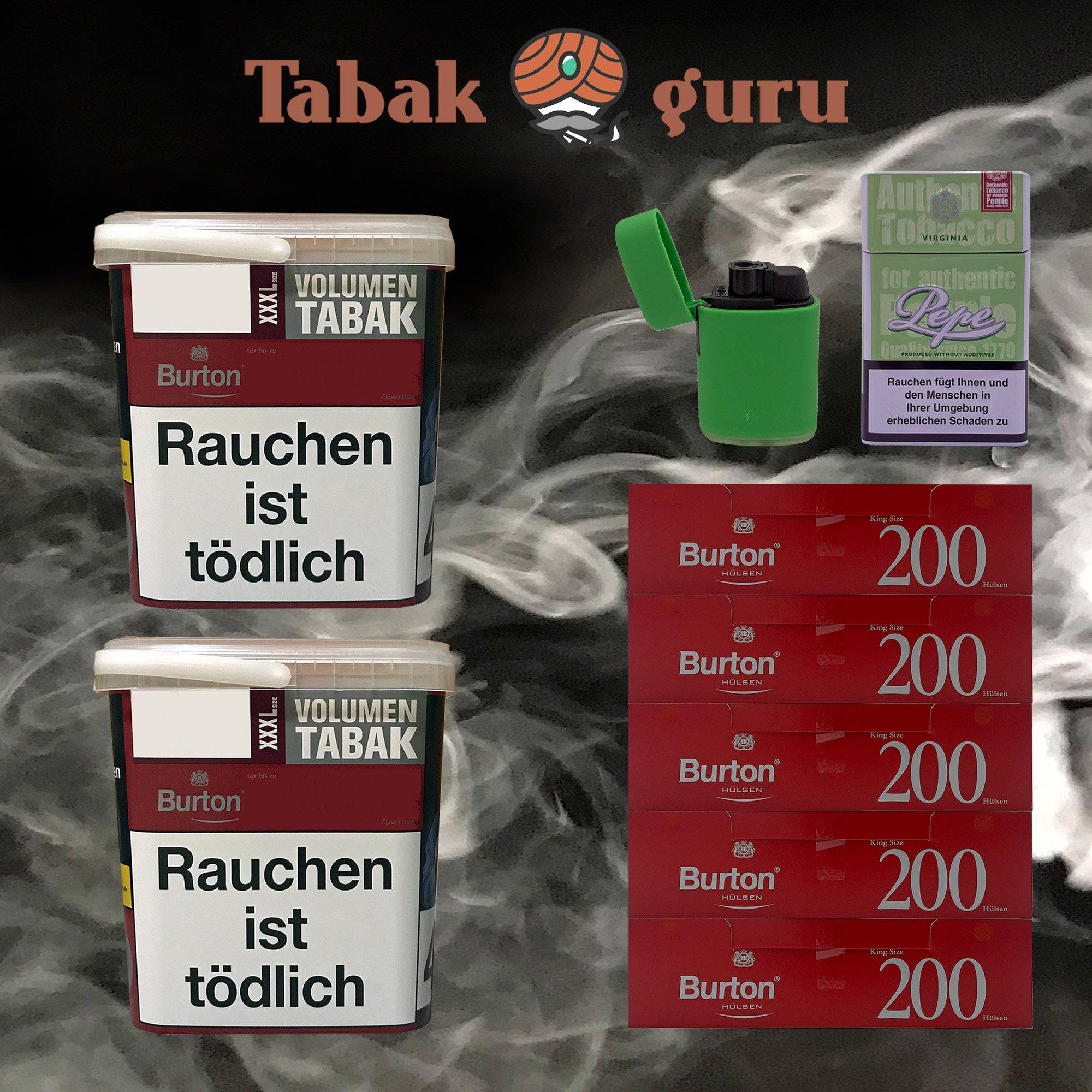 2x Burton Red Volumentabak XXXL Eimer 370g, 1.000 Hülsen, Sturmfeuerzeug, Flip Case