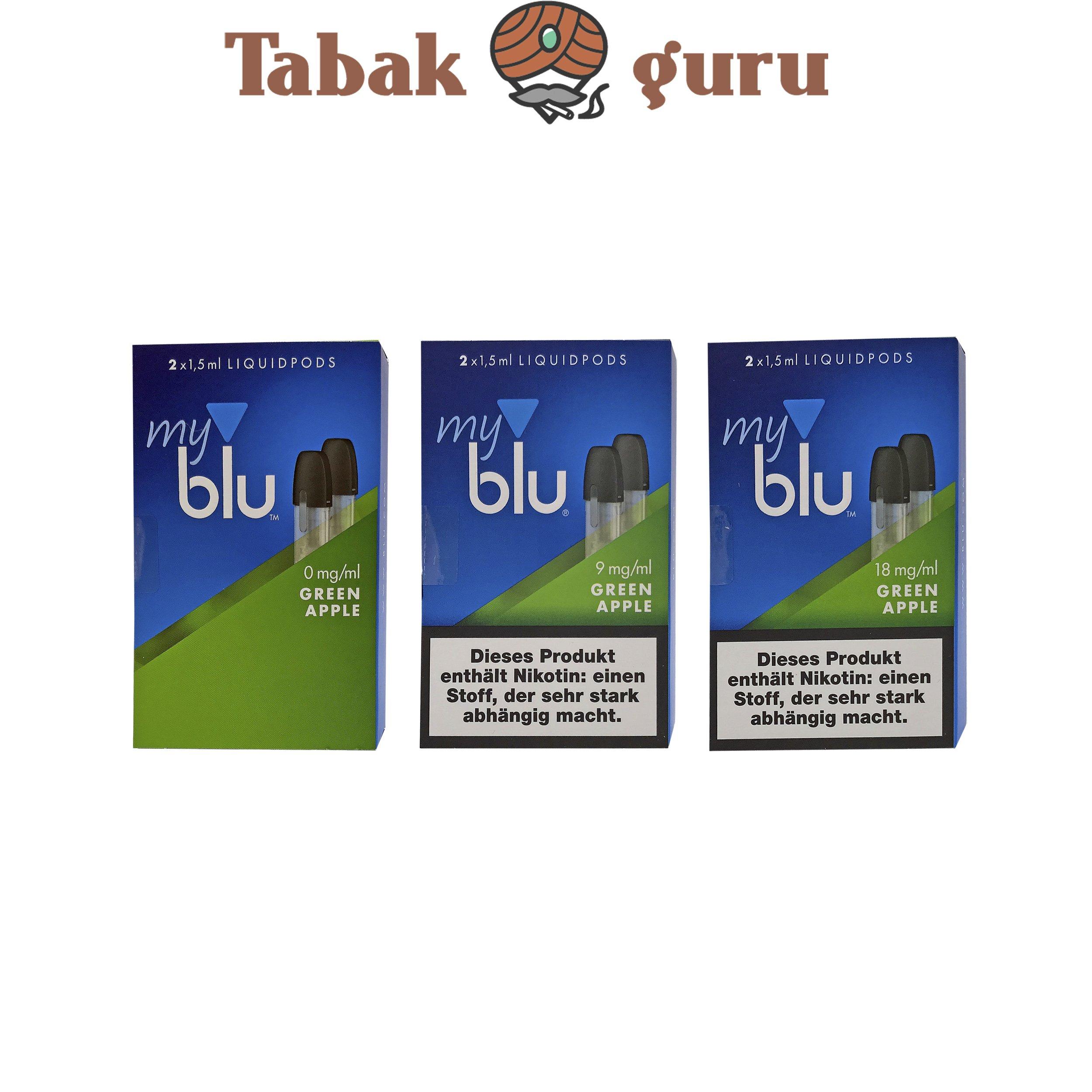 3x My Blu Liquid Pods Green Apple 0 mg / 9 mg / 18 mg