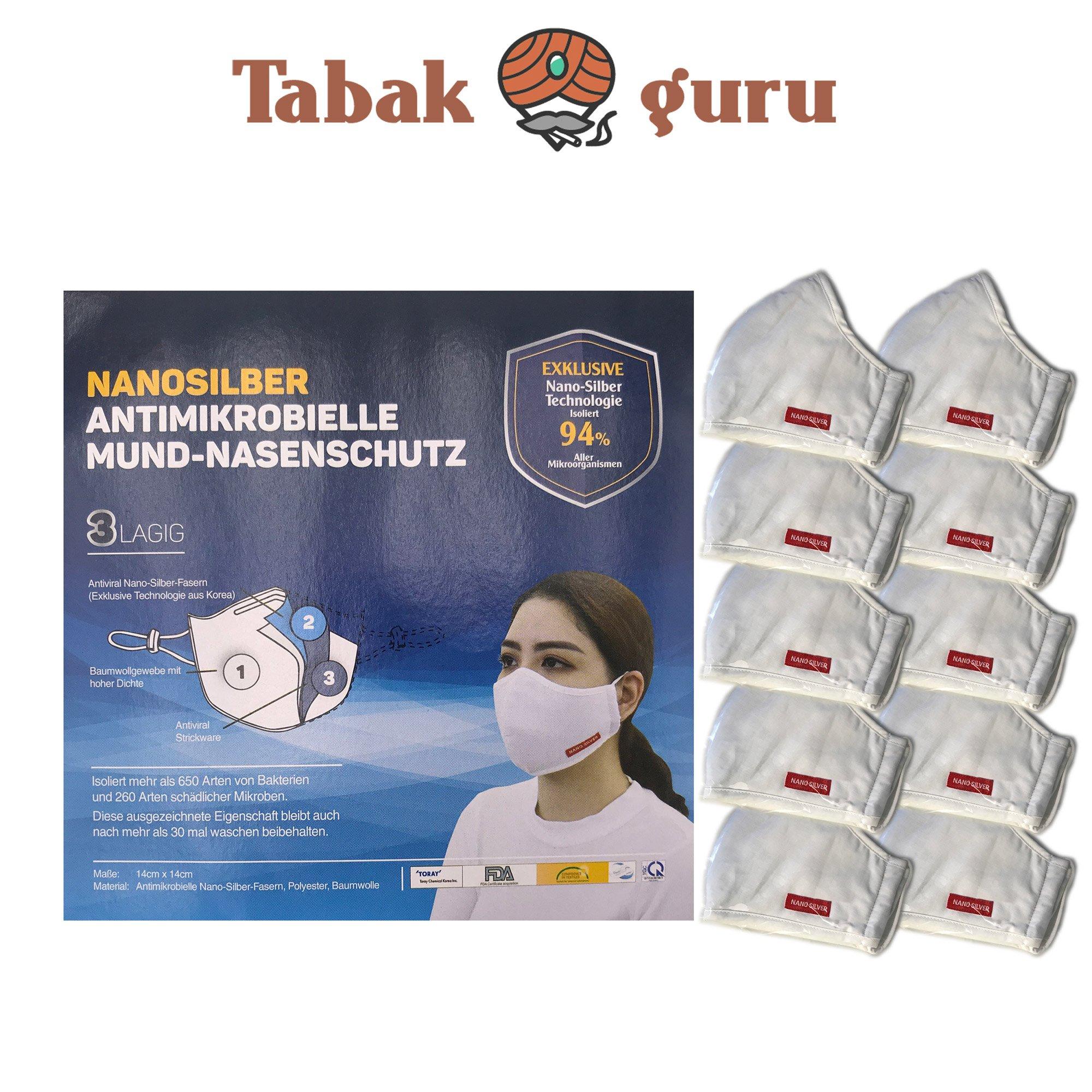 10 x Atemschutzmaske waschbar, Mund-Nasenschutz, Nanosilber, Antimikrobiell, 3lagig, waschbar