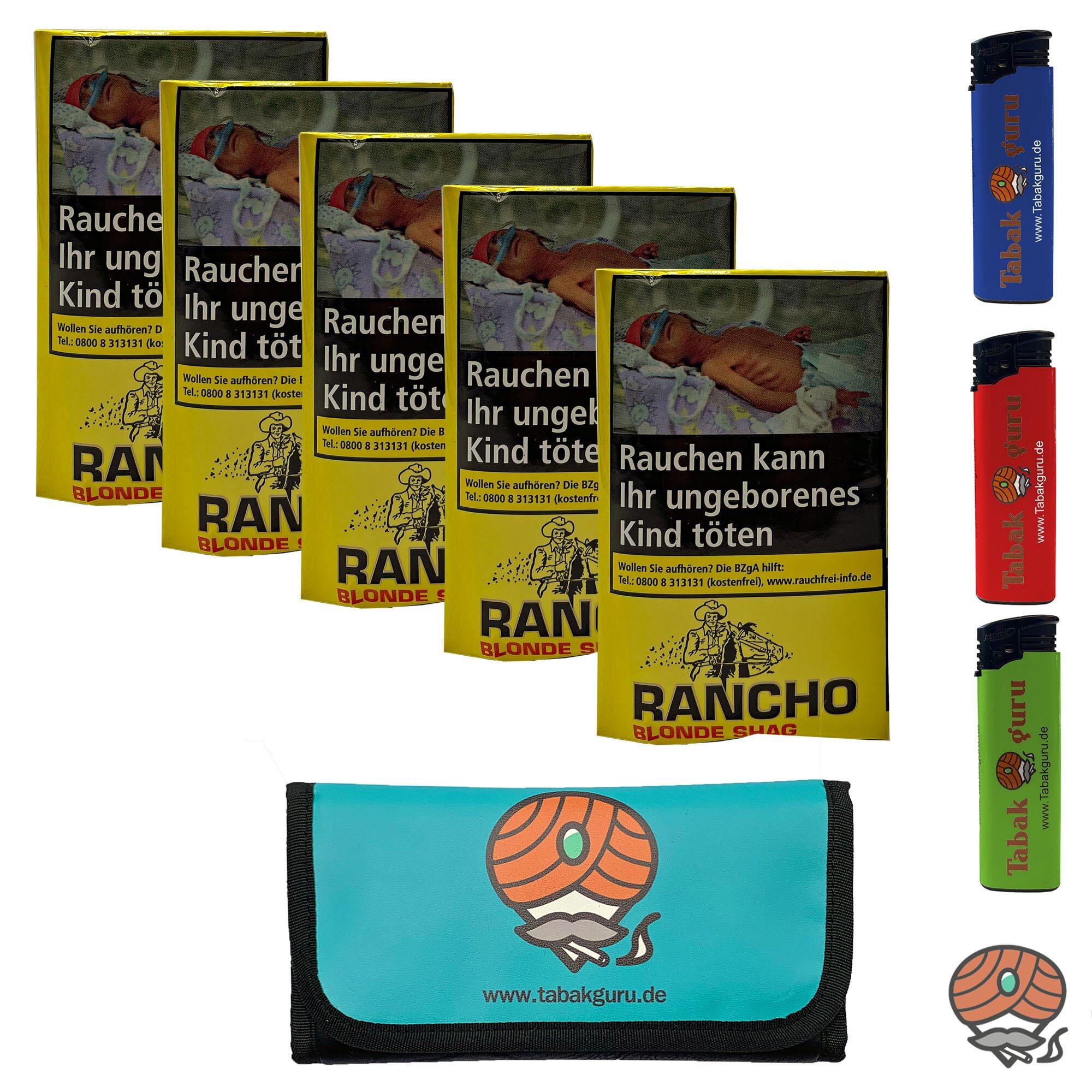 5x Rancho Blonde Shag Zigarettentabak à 40g Beutel / Pouch + Zubehör