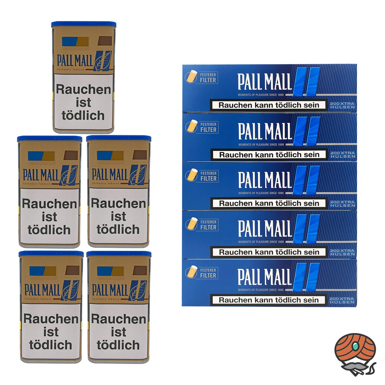 5x Pall Mall Authentic Blue / Blau Tabak XL Dose à 55g + 1.000 Pall Mall Blue Hülsen
