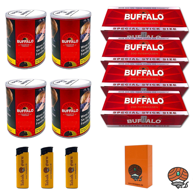 4 x Buffalo Red Feinschnitt 150 g Dose + 4 x Buffalo Red Extra-Hülsen + Zubehör