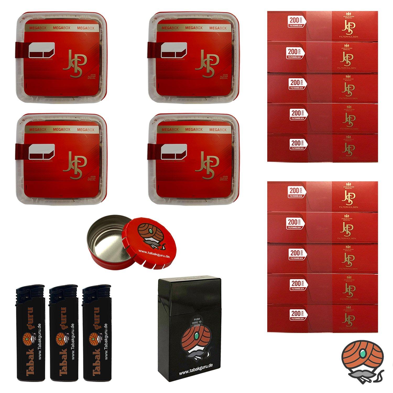 4x JPS John Player Special Mega Box Volumentabak 160g, JPS Hülsen, Feuerzeuge, Zubehör