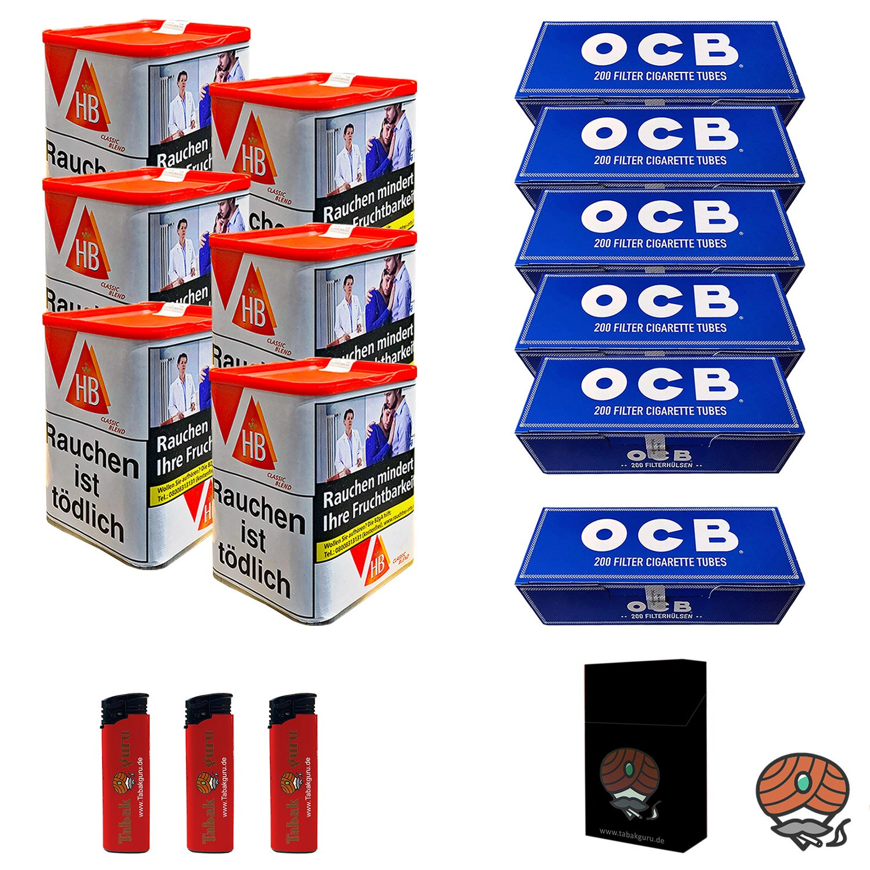 6 x HB Classic Blend Feinschnitt 90 g Dose + 1200 OCB Hülsen + mehr