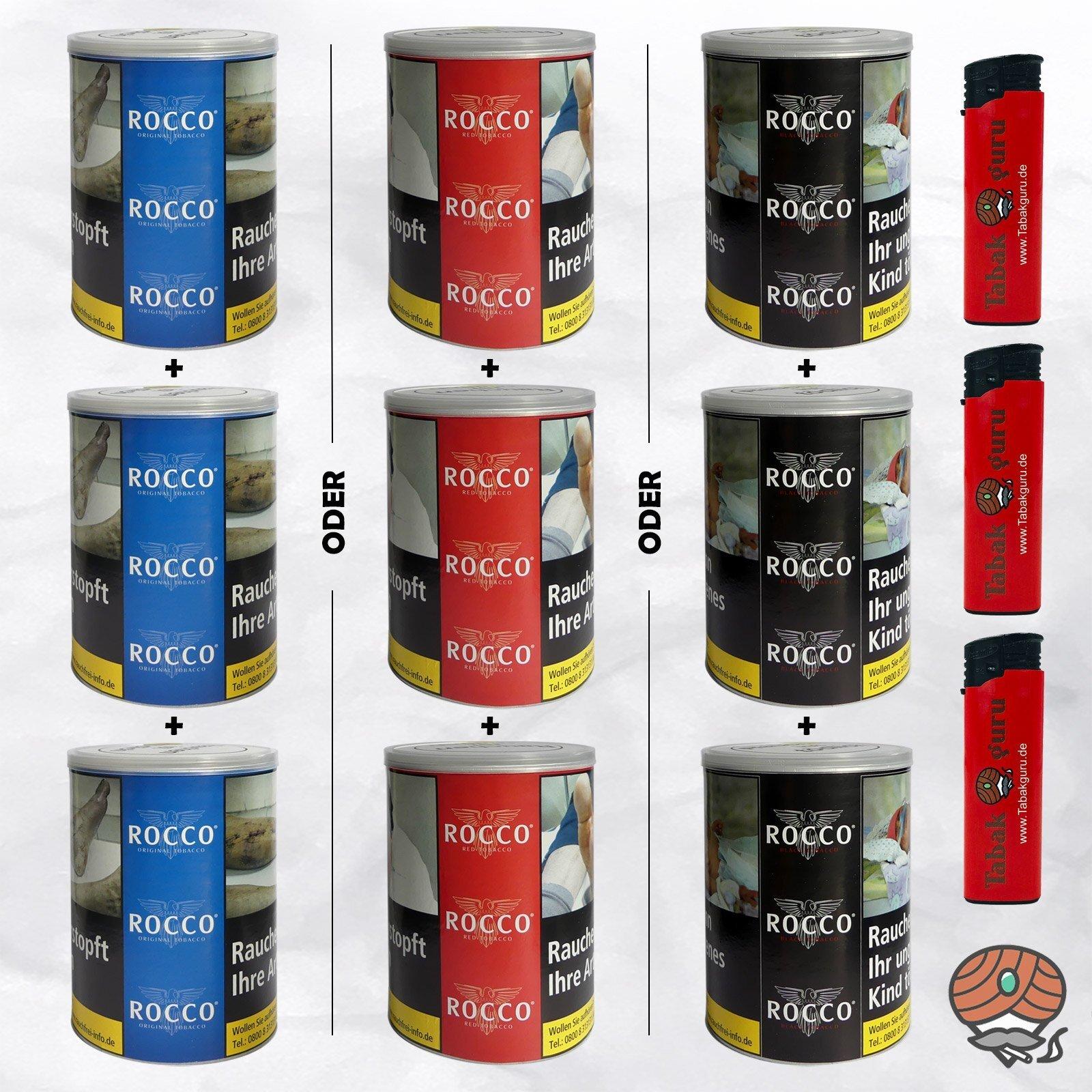 3 x ROCCO ORIGINAL oder RED oder BLACK Tobacco Drehtabak 130 g Dosen wählbar - 3 Dosen ORIGINAL