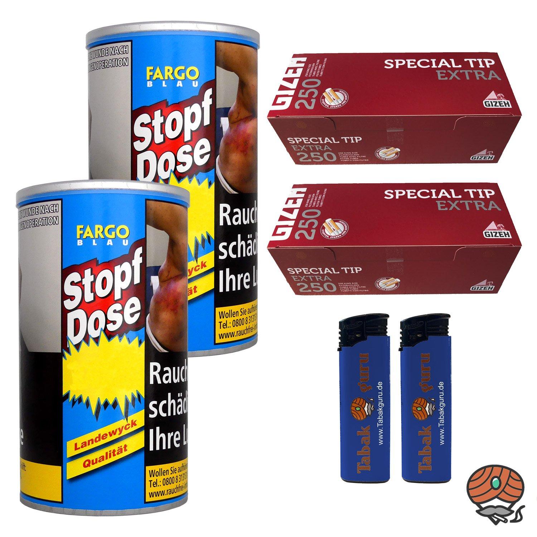 2 x Fargo Blau XXL Stopf-Dose 140g Feinschnitt-Tabak + Gizeh Extra Hülsen