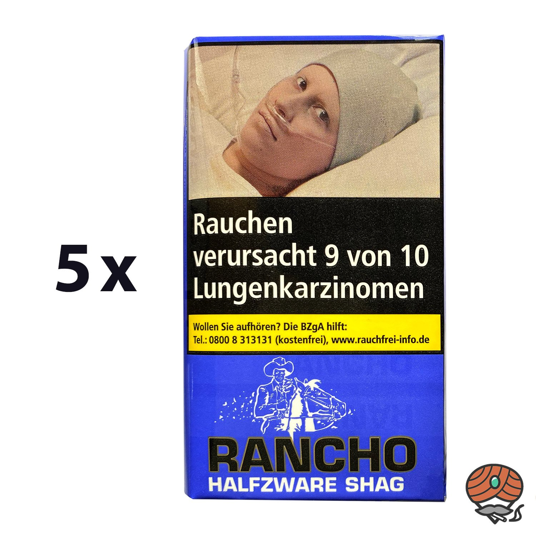 5 x Rancho Halfzware Shag Zigarettentabak 40 g Pouches