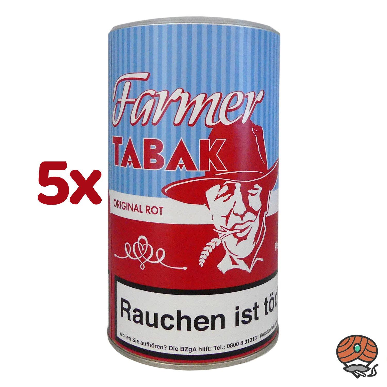5 x Farmer Original Rot Tabak Pfeifentabak / Stopftabak 170 g Dose