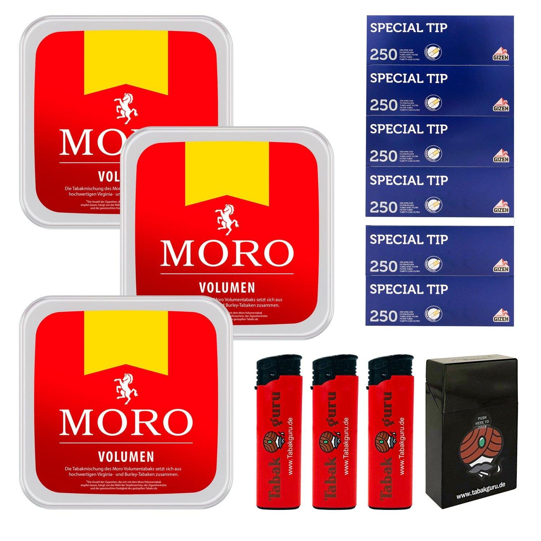 3 x Moro Rot Volumentabak 225 g Box + 1500 Gizeh Special Tip Hülsen + Zubehör
