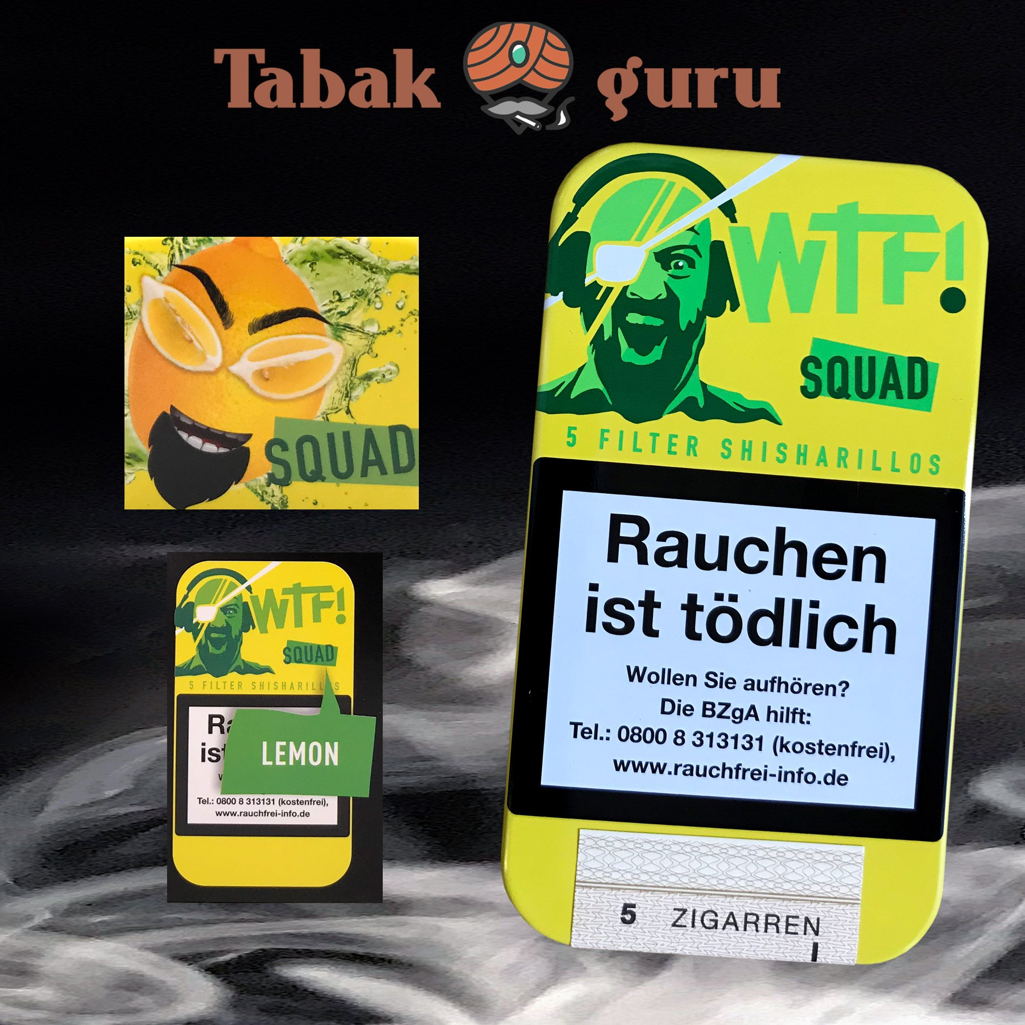 5 Filter WTF! Shisharillos Geschmacksrichtung SQUAD (Zitrone)