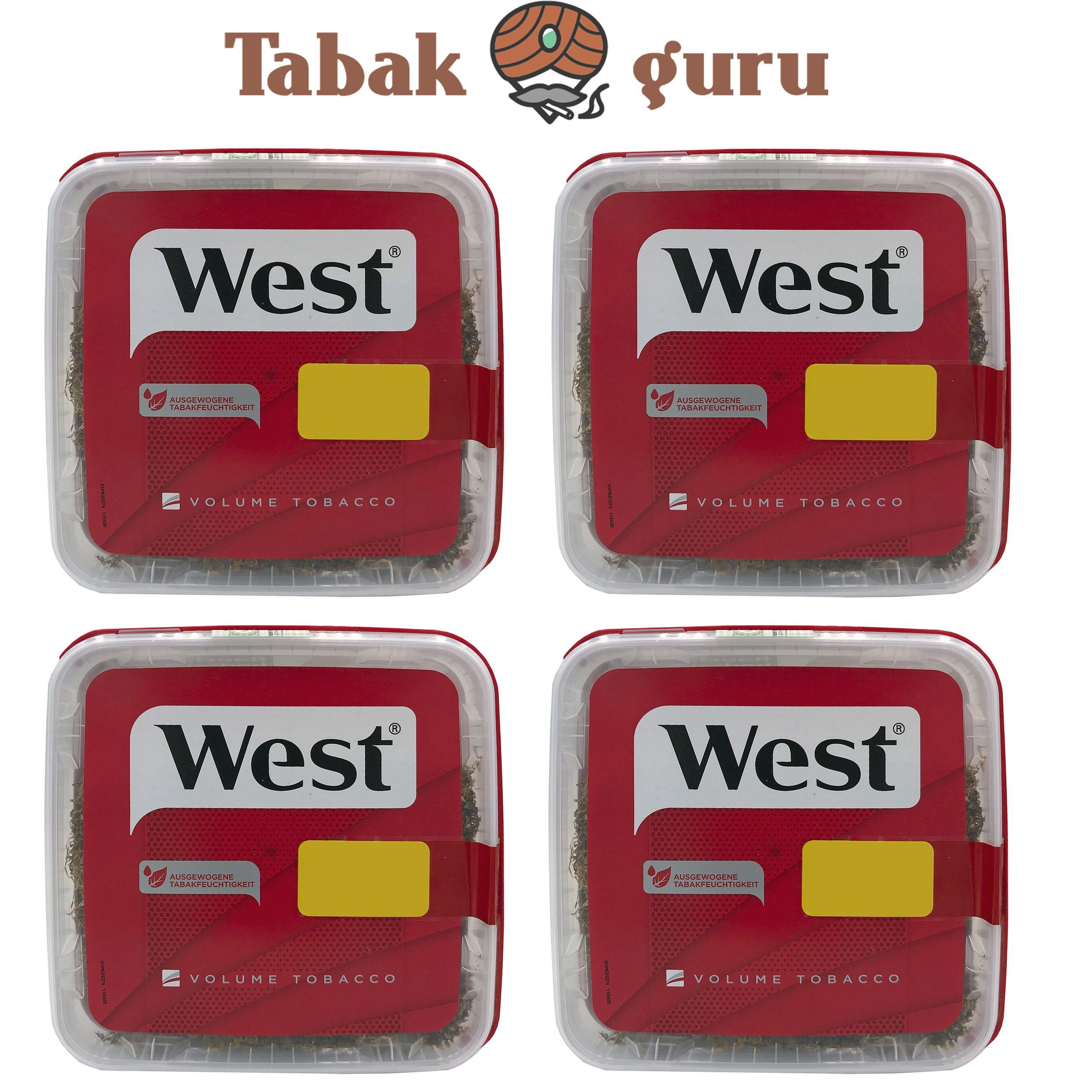 4x West Rot Tabak Eimer - Boxes á 170 g Volumentabak / Zigarettentabak