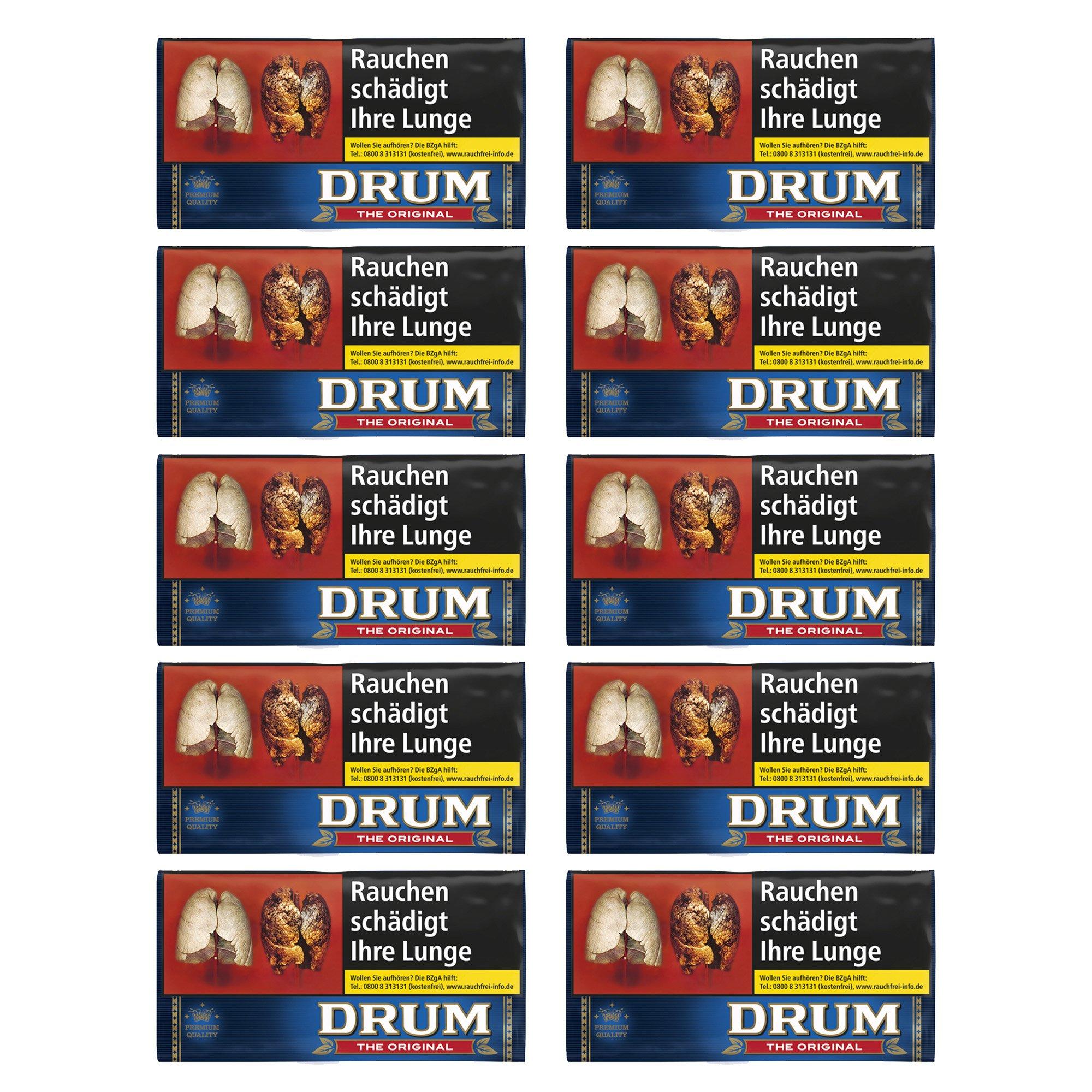 10 x Drum Original Halfzware Shag Drehtabak 30 g Pouches