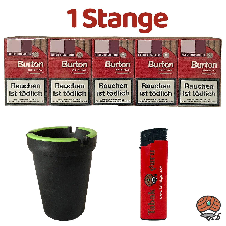 1 Stange Burton Original Filter Zigarillos (17 Stück / Schachtel) + Zubehör (Autoascher)