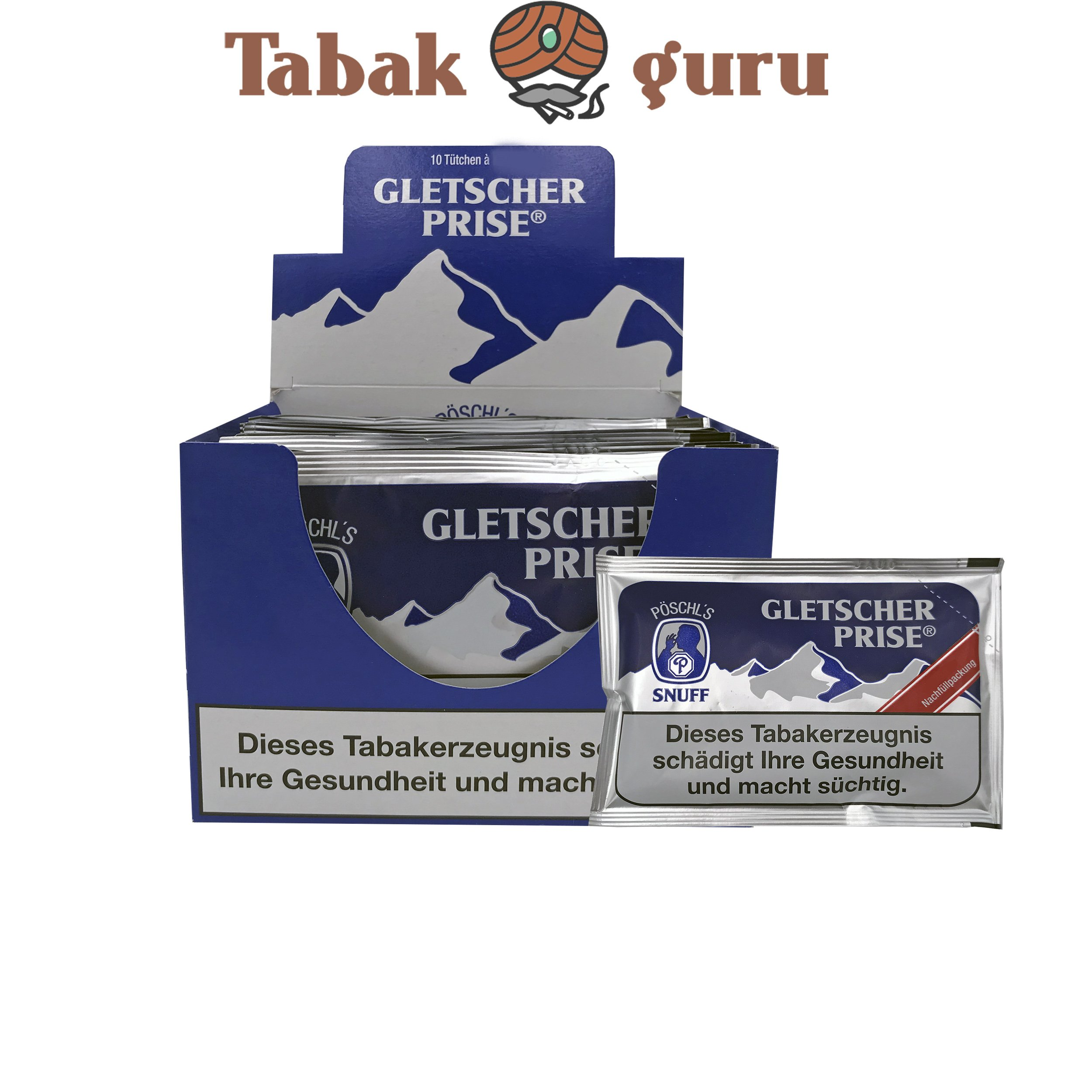 10x Gletscher Prise Snuff Schnupftabak 25g Beutel