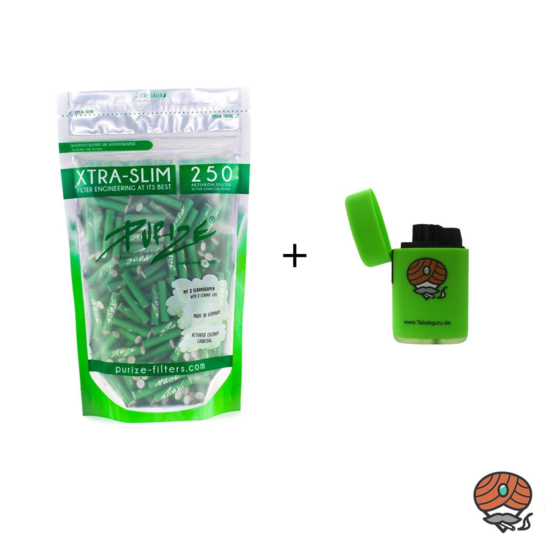 Purize Aktivkohlefilter XTRA SLIM grün, 250 Stück und Sturmfeuerzeug