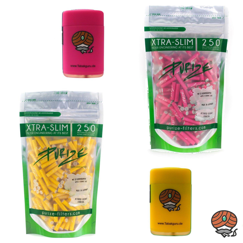 Purize Aktivkohlefilter XTRA SLIM pink und gelb à 250 Stück und 2 Sturmfeuerzeuge