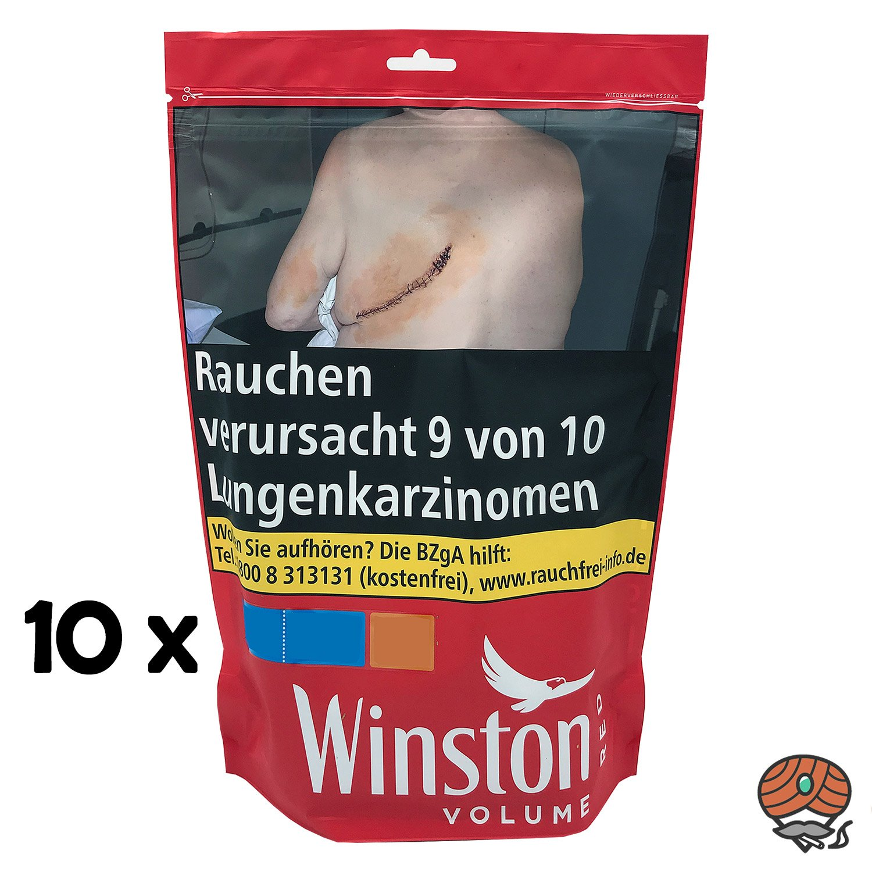 10 x Winston Red / Rot Volumentabak Beutel à 135 g