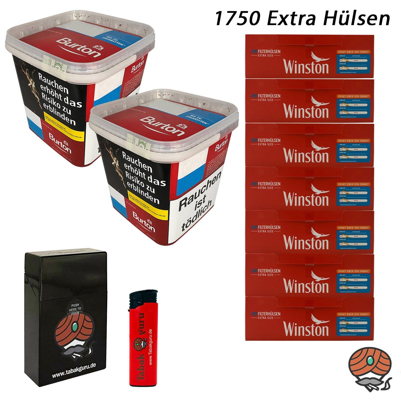 2x Burton Red Volumentabak / Zigarettentabak XXXL Eimer 350g + 1750 Winston Extra Hülsen