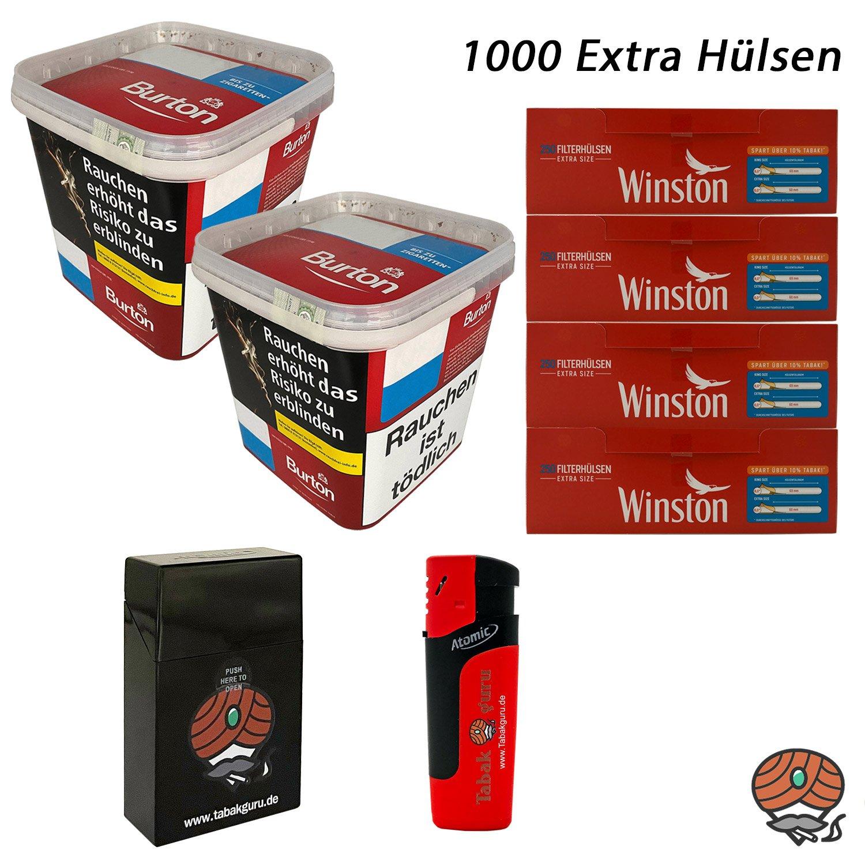2x Burton Red Volumentabak / Zigarettentabak XXXL Eimer 350g + 1000 Winston Extra Hülsen