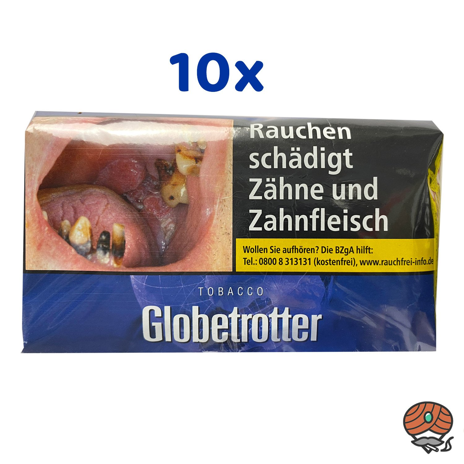 10x Globetrotter Tabacco Blau Halfzware 40g Pouch/ Beutel