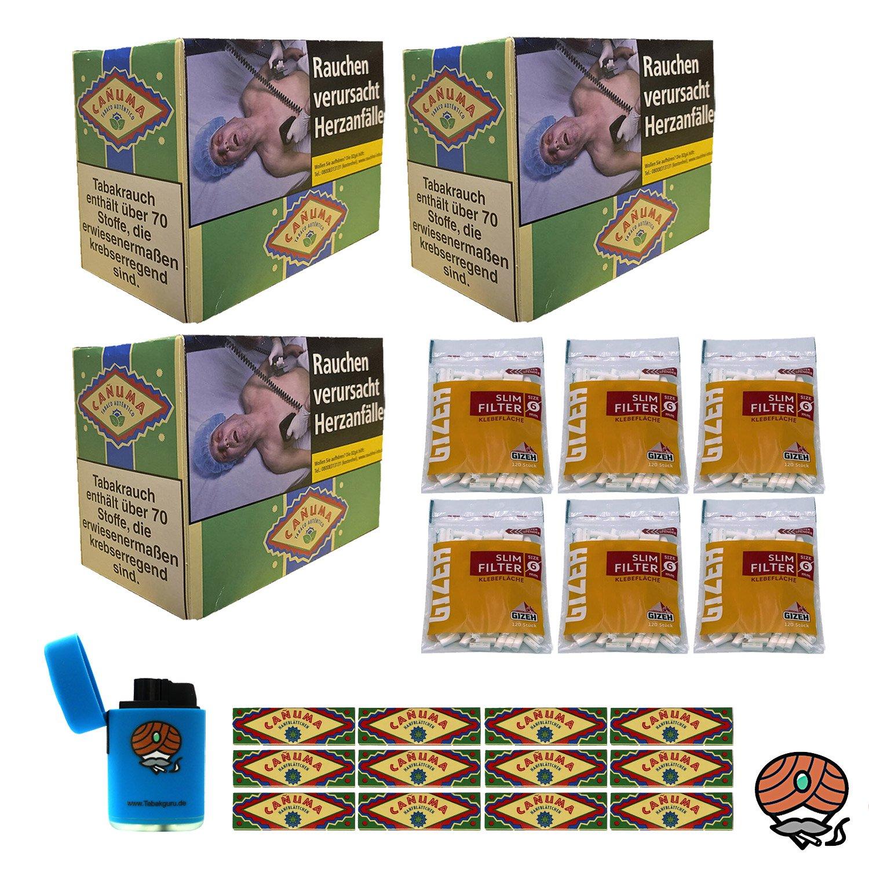 18x Canuma Drehtabak Pouch à 30g, 12x Blättchen + Filter + Feuerzeug
