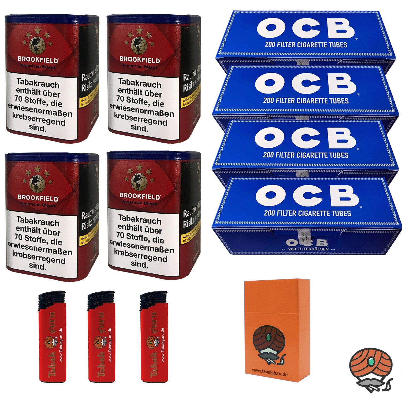 4 x Brookfield American Blend 120 g Dose + 4 x OCB Hülsen + mehr