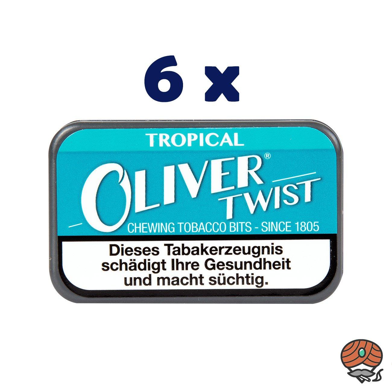 6 x Oliver Twist TROPICAL Tabakpastillen, Kautabak, Chewing Bits