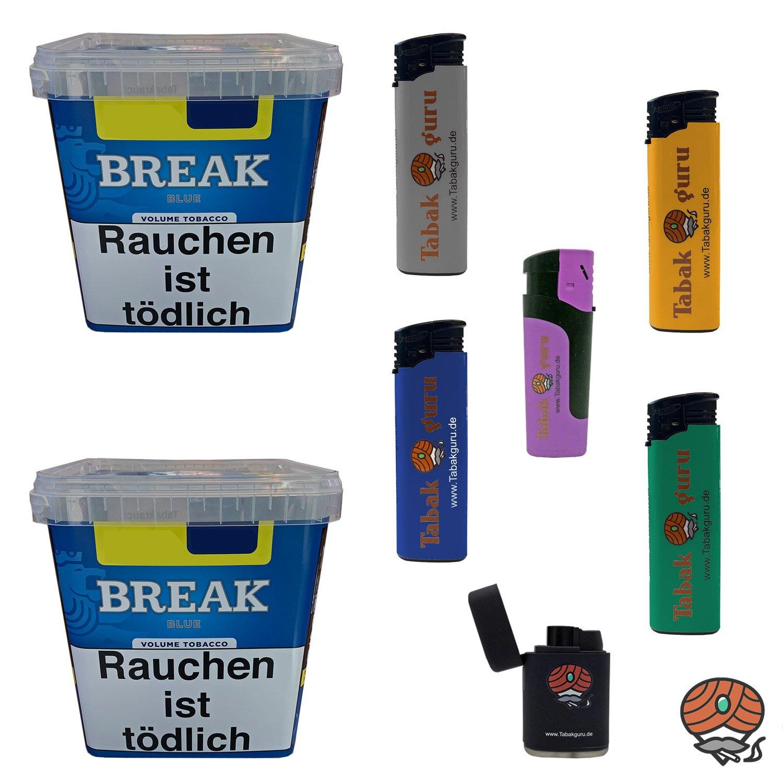 2 x Break Blue / Blau Volumentabak Giga Box 230 g + Zubehör