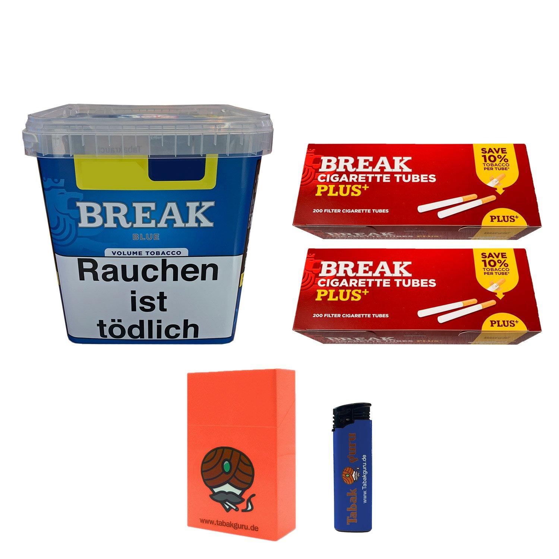 Break Blue / Blau Volumentabak Giga Box 230 g + 400 Break Plus Hülsen + Zubehör