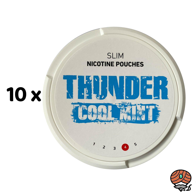 10 x THUNDER Cool Mint SLIM Nikotinbeutel / Nicotine Pouches, Kautabak Snus