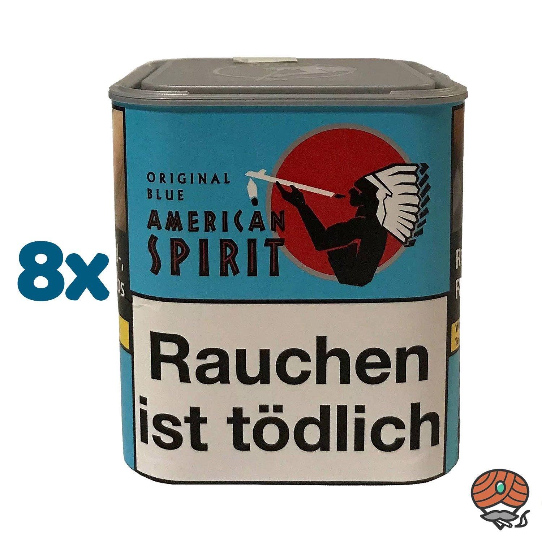 8 x American Spirit Original Blue / Blau Tabak 80 g Dose