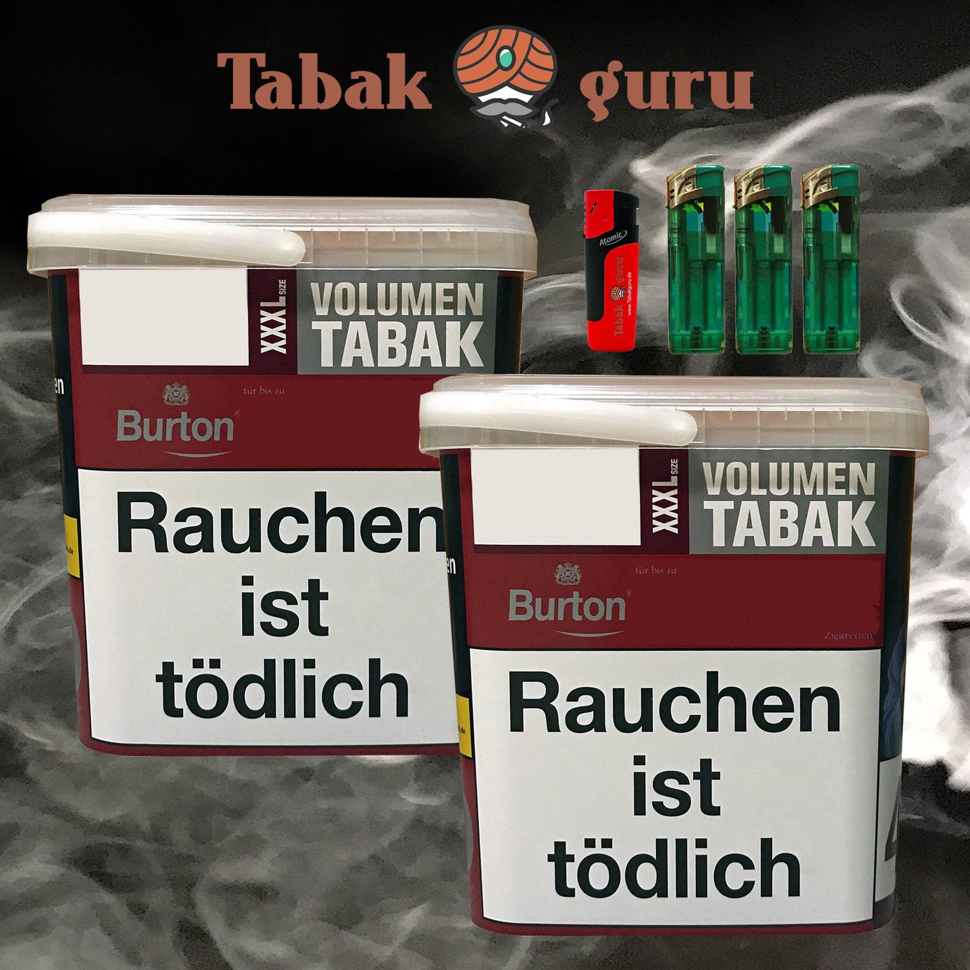 2x Burton Red Volumentabak / Zigarettentabak XXXL Eimer 370g, Feuerzeuge