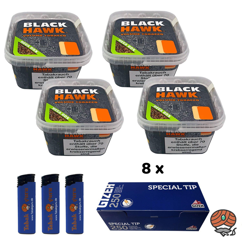 4 x Black Hawk Volumentabak 230 g Mega Box + 8 x Gizeh Special Tip Filterhülsen + mehr