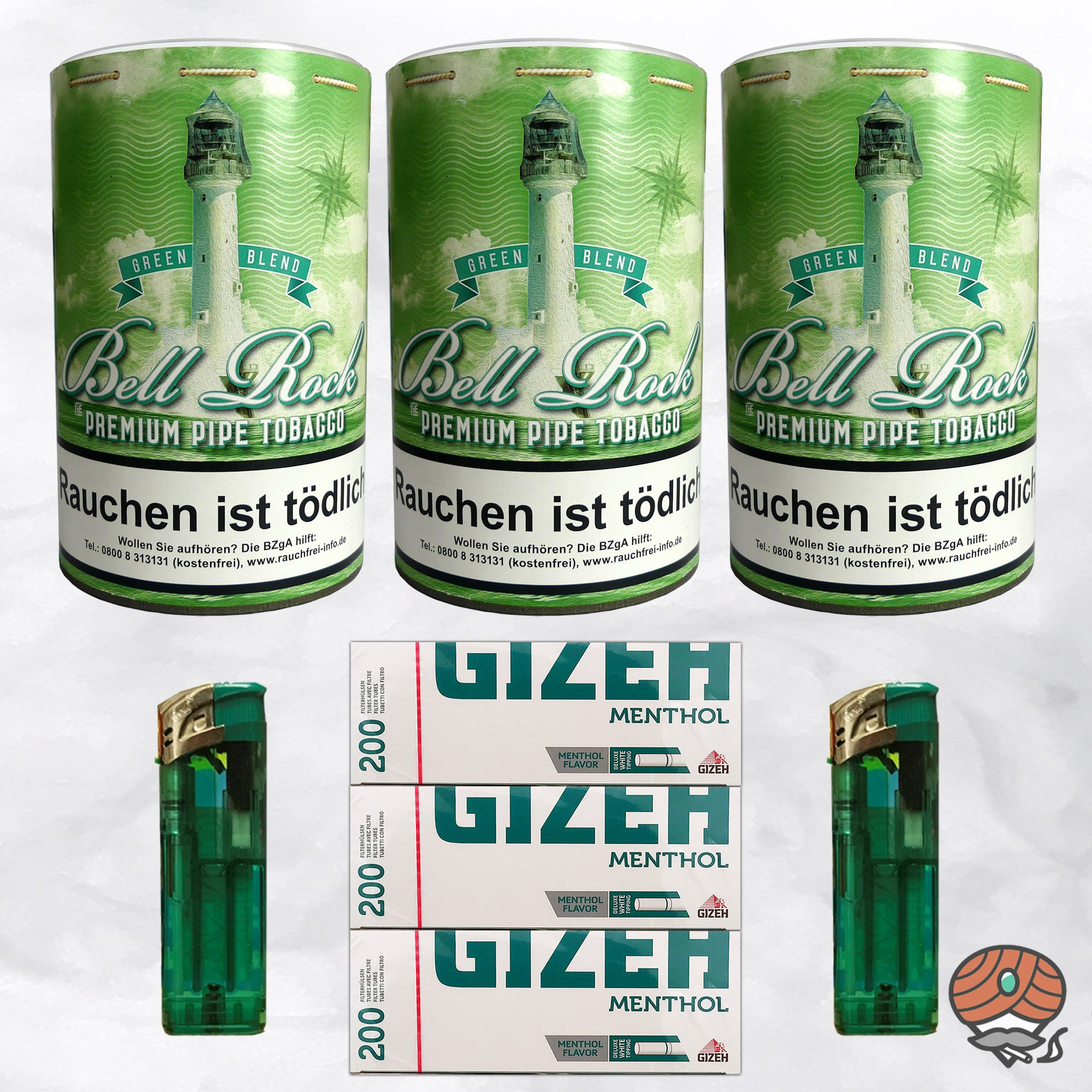 3 x Bell Rock Green Blend Menthol Pfeifentabak 160g Dose + 600 Menthol-Hülsen