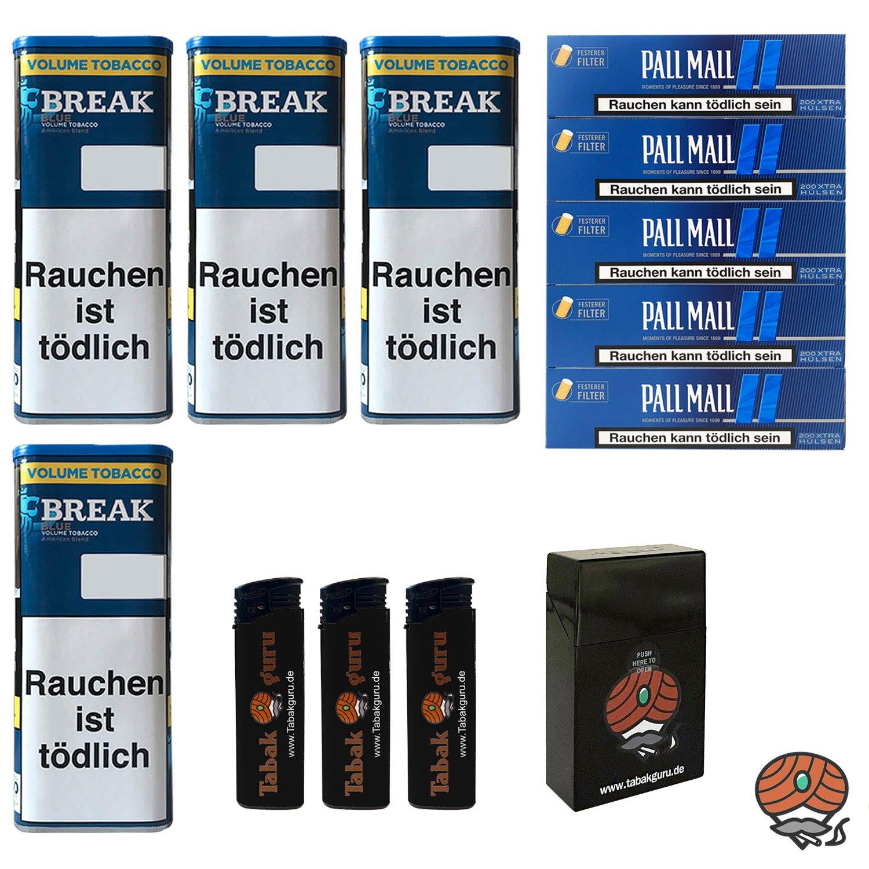 4x Break Blue/Blau XXL Volumentabak 115g, Pall Mall Extra Hülsen, Feuerz., Box