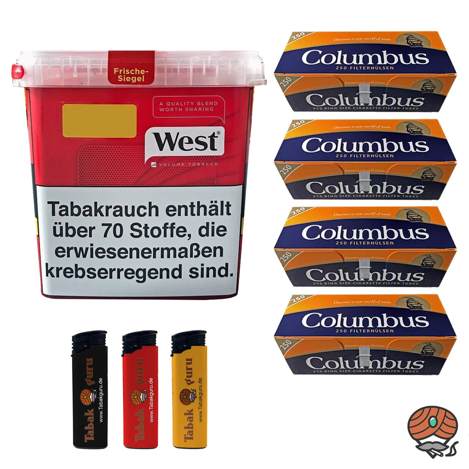 West Red Volumentabak 280 g, 1.000 Columbus Hülsen, Feuerzeuge