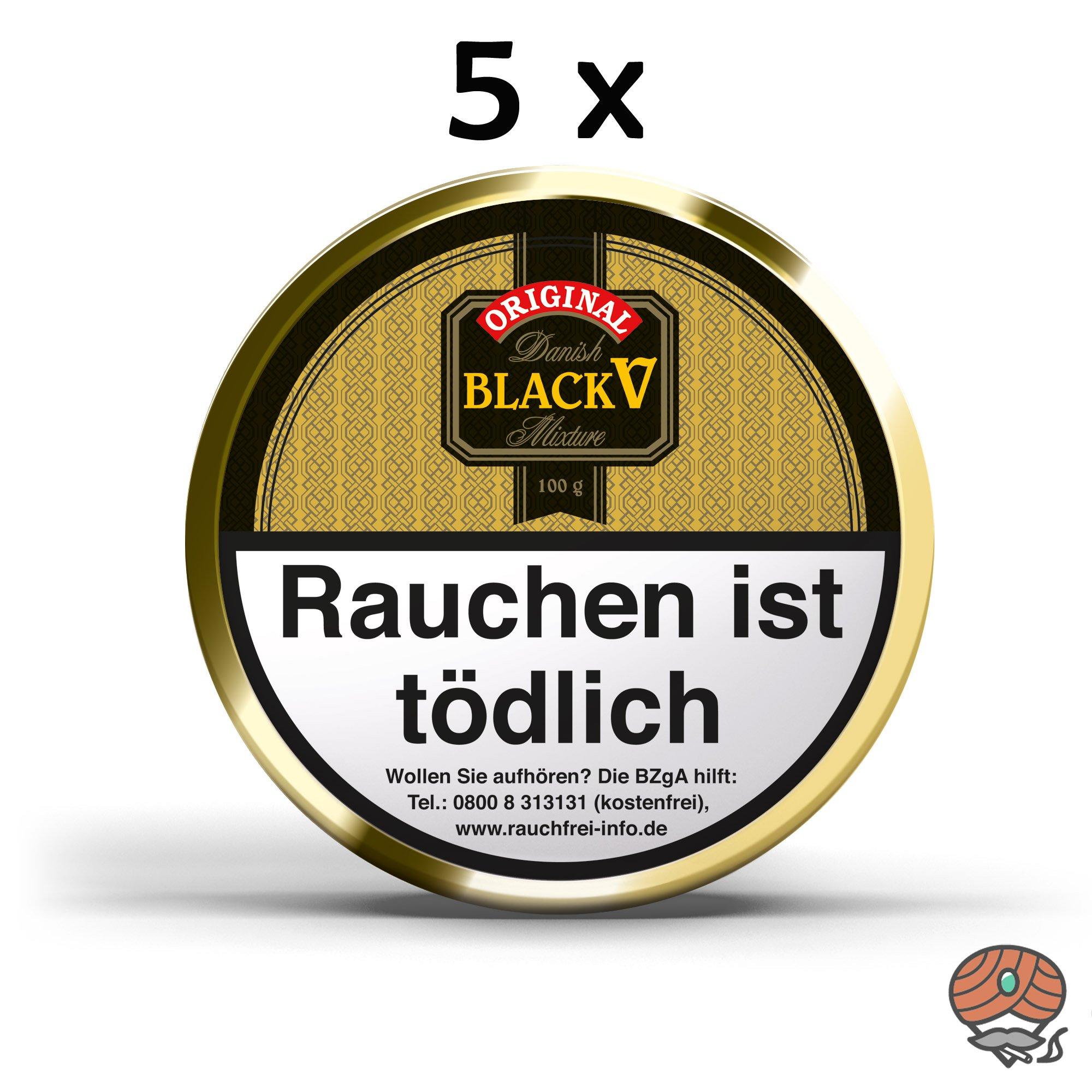 5x Danish Black V Pfeifentabak Vanille Aroma á 100g Dosen