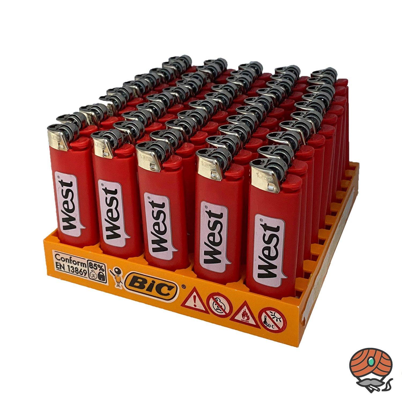 50 BIC Maxi Reibrad Feuerzeug Rot mit Aufdruck