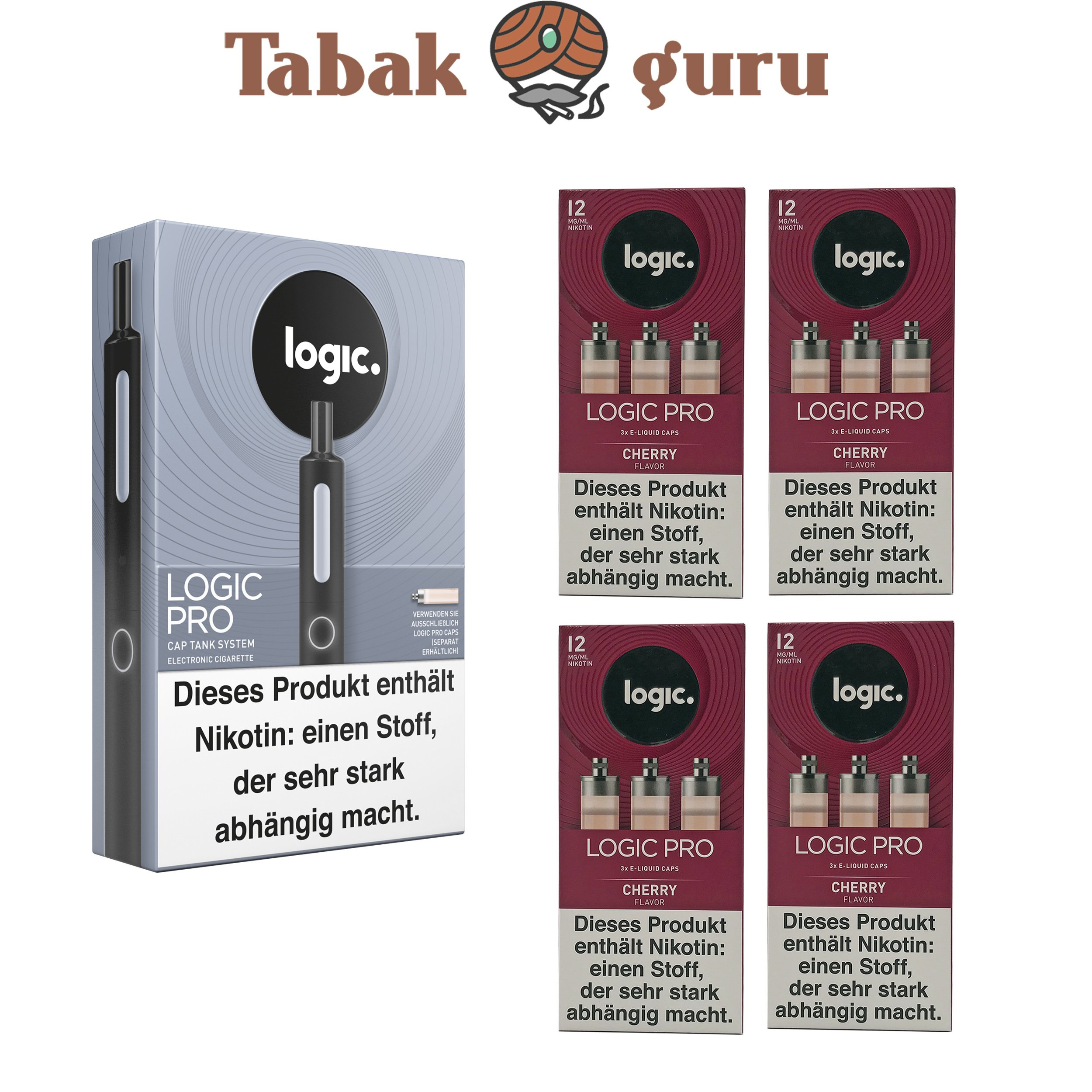 Logic Pro Cap Tank System Starterset Schwarz + 4x Cherry Flavor Liquids