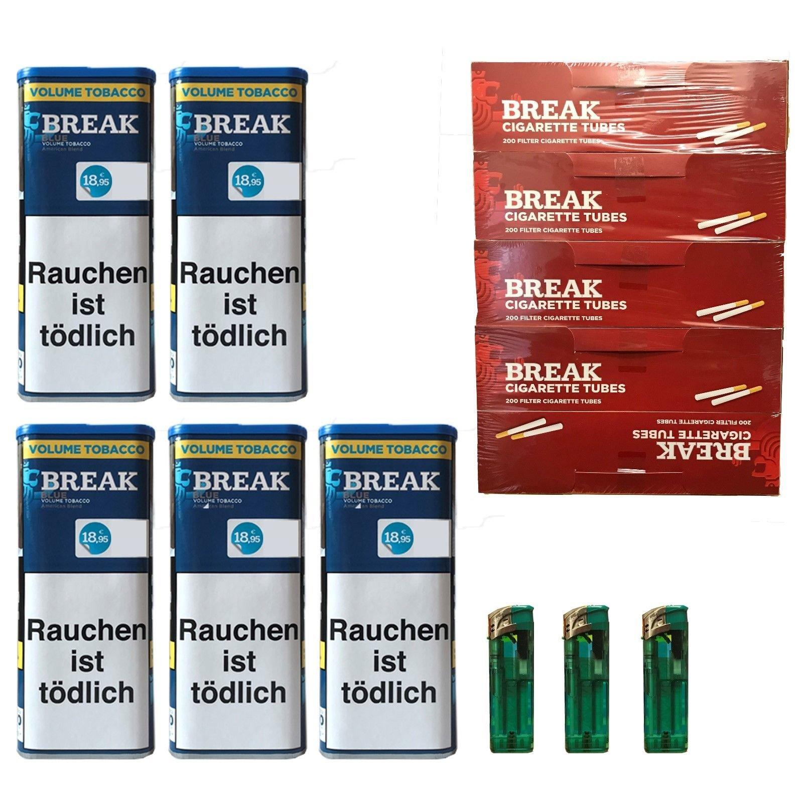 5x Break Blue/Blau XXL Volumentabak 120g, Hülsen, 3 Feuerzeuge