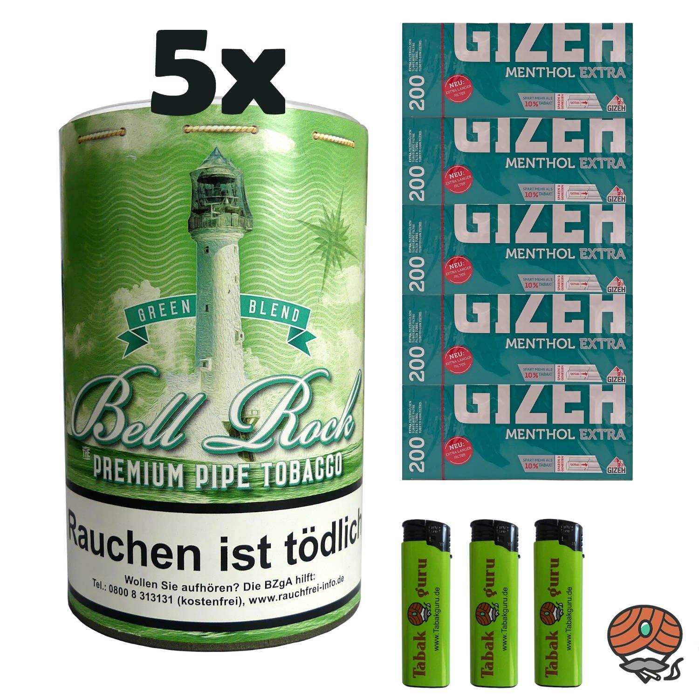5 x Bell Rock Green Blend Menthol Pfeifentabak 160g Dose + 1000 Menthol Extra-Hülsen
