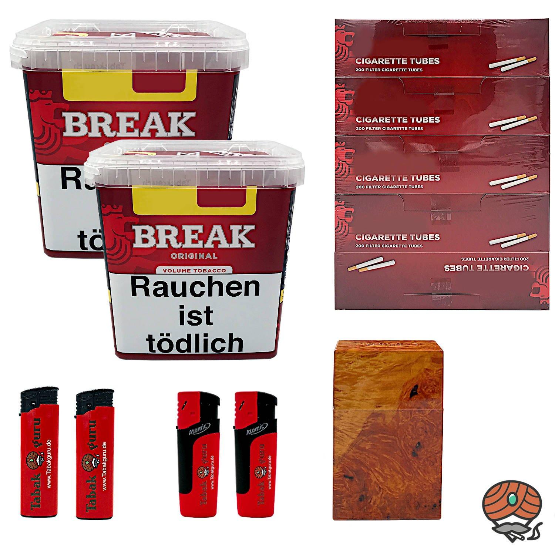 2 x Break Original Volumentabak Giga Box 240 g + 1000 Break Hülsen + Zubehör