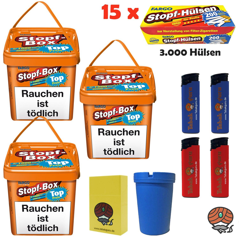 3x Fargo Stopf-Box Stopftabak / Volumentabak 480g Eimer + 3.000 Fargo Hülsen + Zubehör