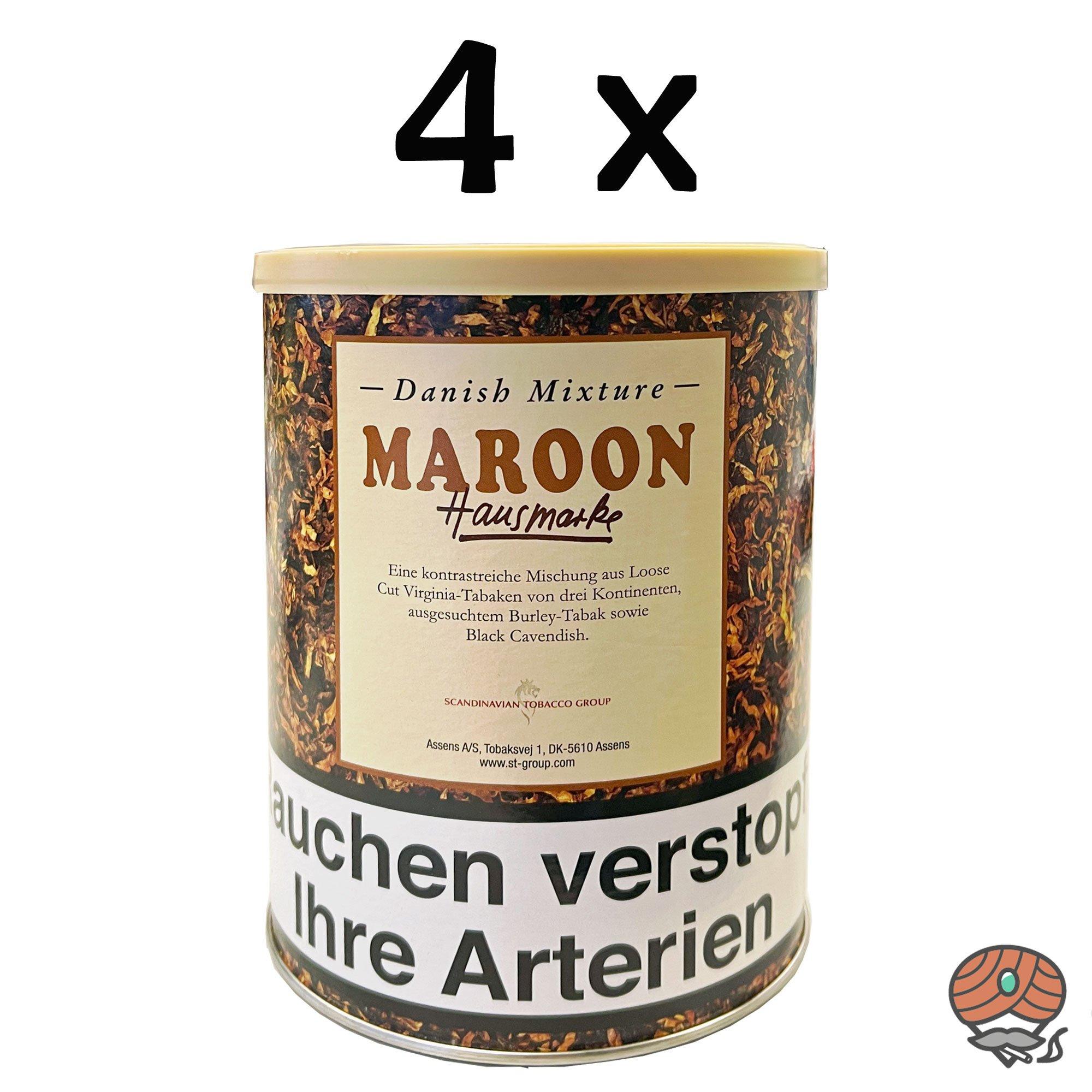 4 x Danish Mixture Hausmarke Maroon 200g Dose Pfeifentabak