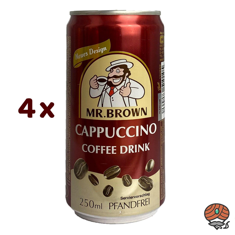 4 x Mr. Brown, Cappuccino, Kaffeegetränk, 250 ml Dose